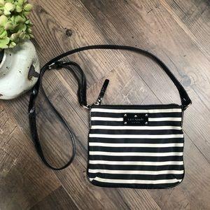 Kate Spade Nylon Black and White Striped Crossbody Bag